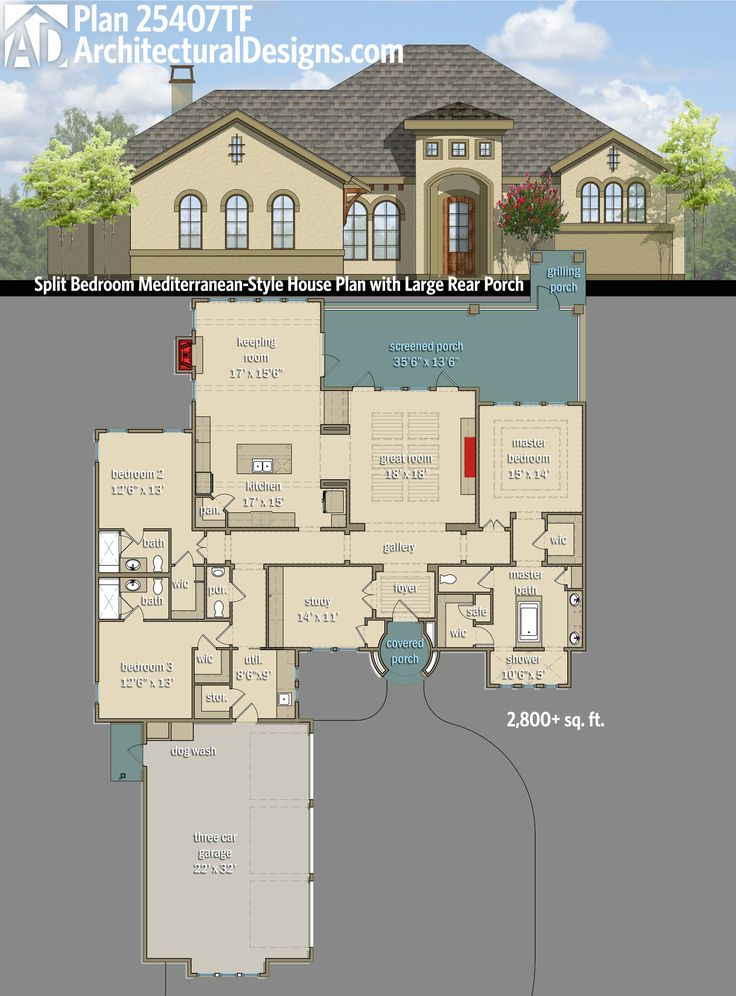 Plan 25407tf split bedroom mediterranean style house plan for House plans with keeping rooms