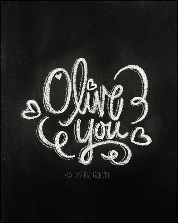 Chalkboard Print - Digital File 8x10 - Olive You - Valentine's Day Printable @Hannah Mestel Mestel Mestel Mestel McLendon