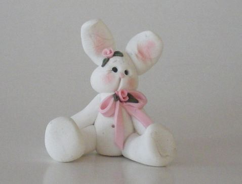Handsculpted White Polymer Clay Bunny Rabbit by by HelensClayArt, $10.95