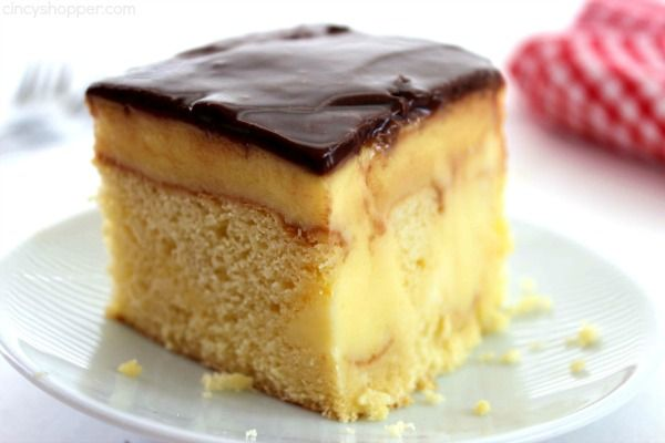 Boston Cream Poke Cake - so super simple and uses a boxed cake mix, pudding, and store bought frosting. Great for potlucks and summer bbq dessert.