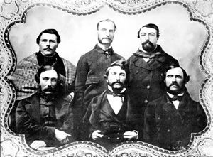 The members of Vancouver Island's First Legislative Assembly members, Dr. Helmcken is seated in the centre
