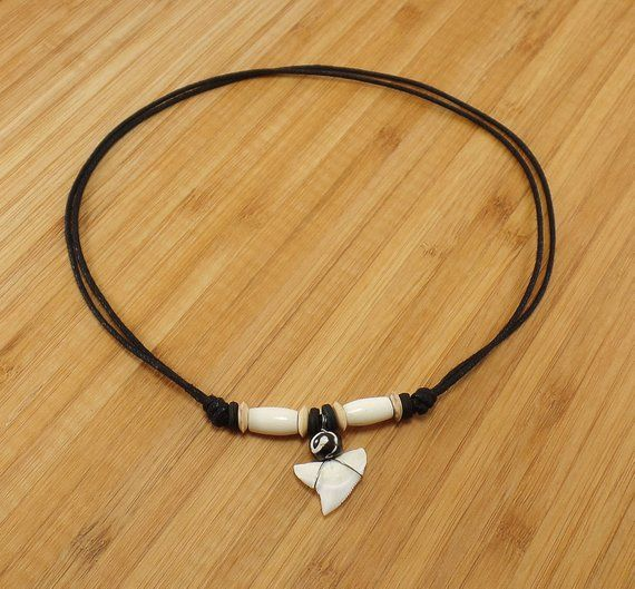 Man Necklace White Shark Tooth Surfer Pendant Colorful Wooden Beads Wax Cord
