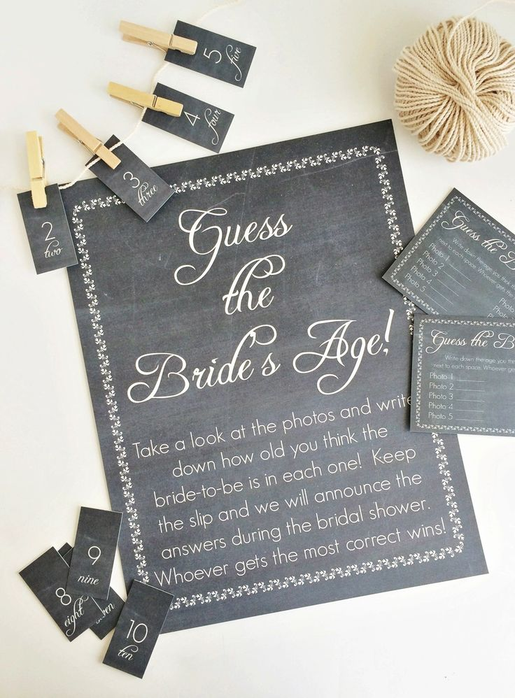 Printable bridal shower game Guess The