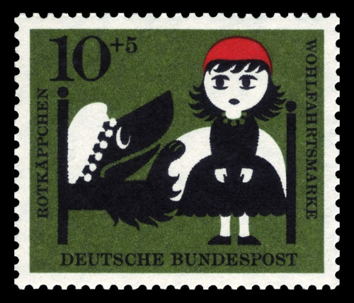 ..Stamps Art, Little Red, Design Art, Red Riding Hoods, Bad Wolf, Hoods Grandmothers, Redriding, Postage Stamps, Fairies Tales