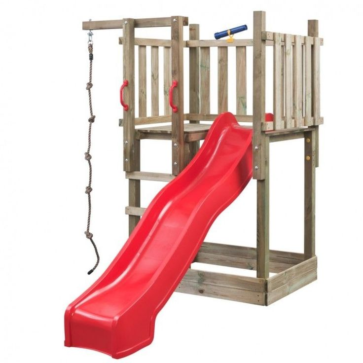Kids Playhouse Set Ladder Slide Wooden Playground Children Garden Red Climb Rope #KidsPlayhouseSet