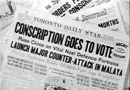 This is an image of the Toronto Daily Star during World War II, reporting on the Conscription Crisis. This source is credible as it was written during this conflict. This tells us about the changing lives of Canadians at the time because the Conscription Crisis became a political issue. It divided French-Canadians and the rest of Canada, causing tension and affecting peoples' relationships and opinions.