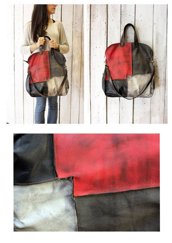 """Handmade Italian vintage Leather Tote bag """"PACH BAG 13"""" di LaSellerieLimited su Etsy"""