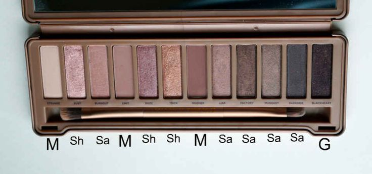 M = Matte. Sa = Satin. Sh = Shimmer. G = Glittery.