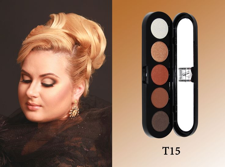 High pigmented eye shadow in 5 colour. The colours are very well structured in a palette together for easy use. Soft water resistant texture allow smoothest application possibility. Each palette contains a perfect balance of different eye shadow finishes. Textures: matte, satin, glittery. Online shop: www.make-up.ae