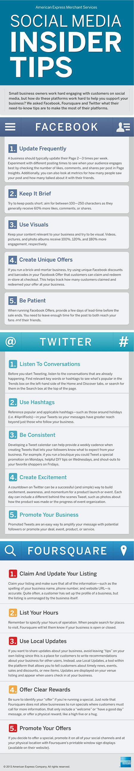 Social Media Tips from American Express.   #webdesignqca  #affordablewebdesign  #affordablelogos  Excellent tips from AmEx.  They certainly know what they're doing.
