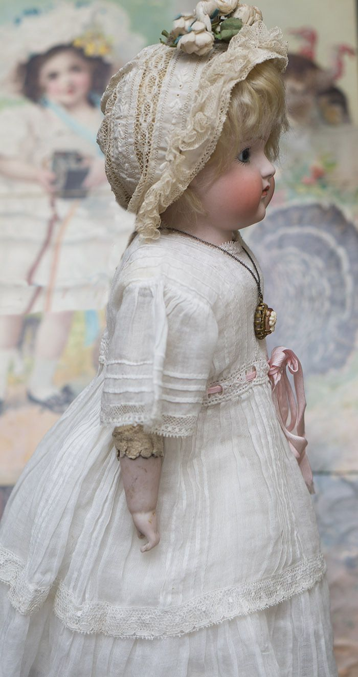 Antique German Closed Mouth Early Kestner bisque doll # 7 1/2 for French Market