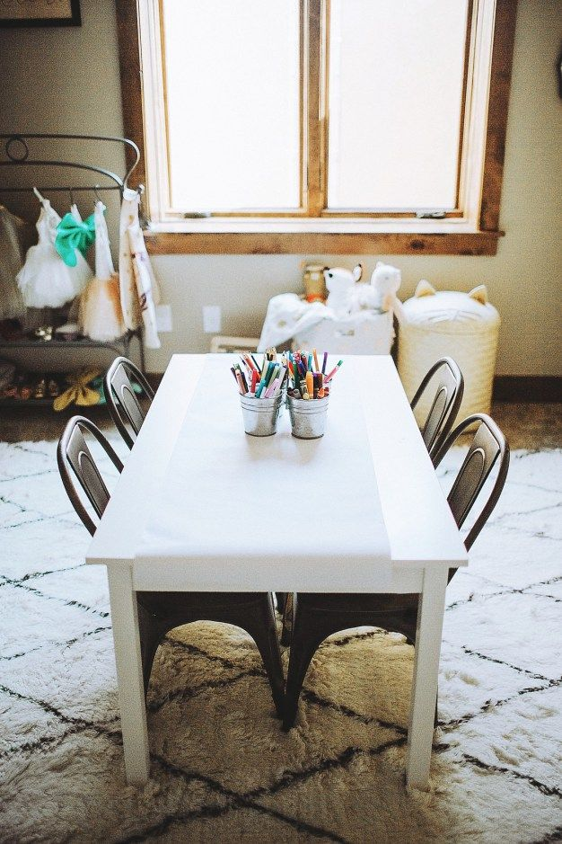 LOVE This Kids Activity Table Paired With Industrial Style Chairs
