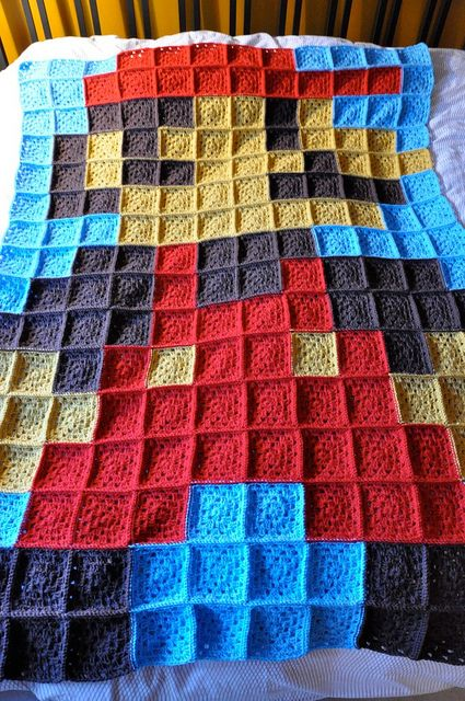 This is crochet but I would totally make it into a fabric quilt!