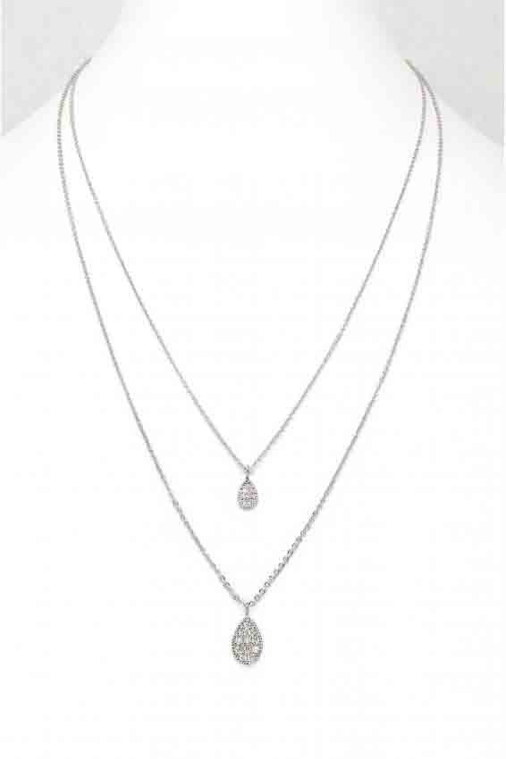 Silver & Crystal Circle Double Chain Necklace