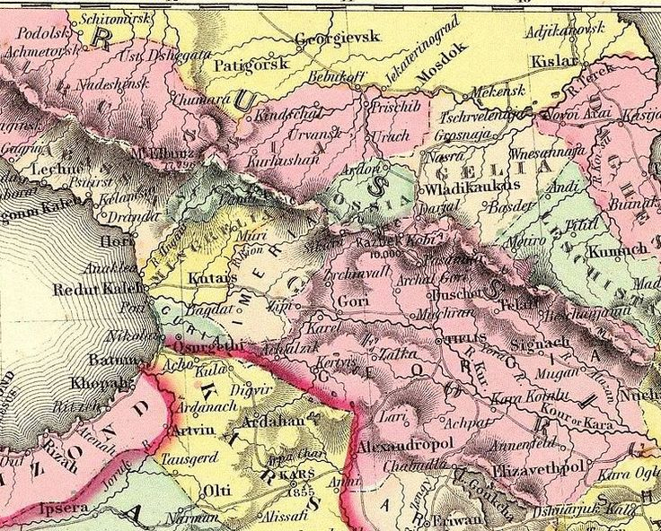 """Fragment of the historical map by J. H. Colton. The map depicts the Caucasus region in 1856. Modern South Ossetia is located in Georgia and Imeria. Modern North Ossetia approximately corresponds to """"Ossia""""."""