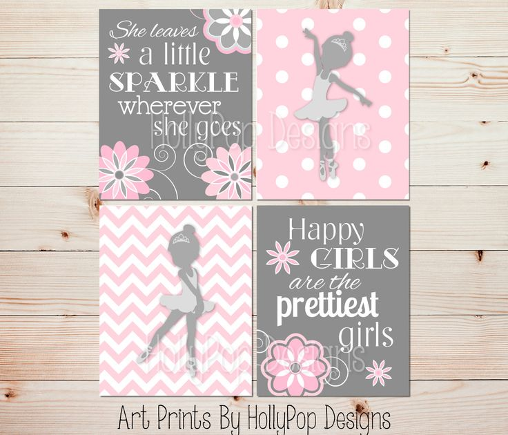 Nursery Art Toddler Girls Room Ballerina Wall by HollyPopDesigns