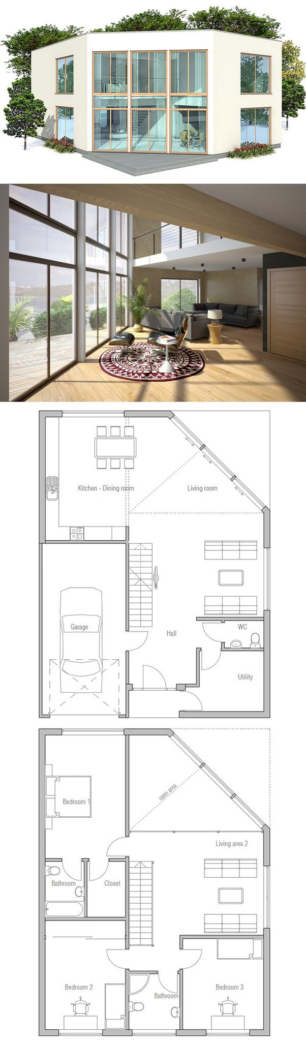 149 best house plans images on pinterest small houses home modern house plan to narrow lot in two levels simple lines and shapes spacious interior areas three bedrooms