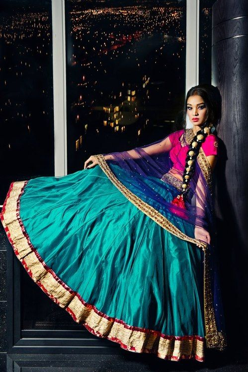 Aqua, hot pink and ink blue; all tied together with gold. So gorgeous! ----- Indian bridal lehanga