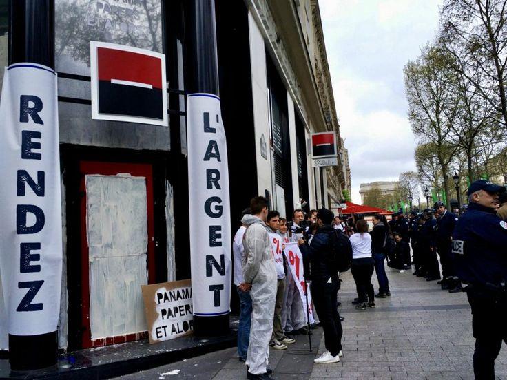 Panama Papers : action contre l'agence Société Générale des Champs-Elysées. 35 gardes à vue ! - Attac France