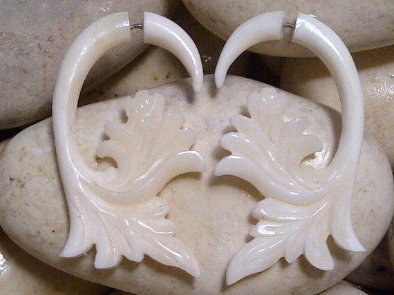 Cow Bone Tribal Leaves Fake Ear Piercing by Balidoit on Etsy, $13.50