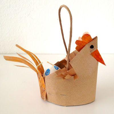 schaeresteipapier: Ostern - Recycling-Bastelmaterial:  aus Papiertragetasche und Käseschachtel