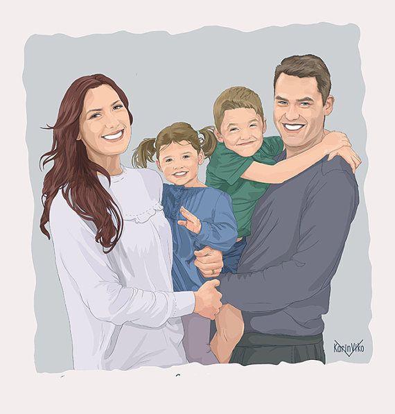 Custom family portrait. Quirky family portrait. Cartoon Portrait. Big family portraits.  Gift for the whole family.