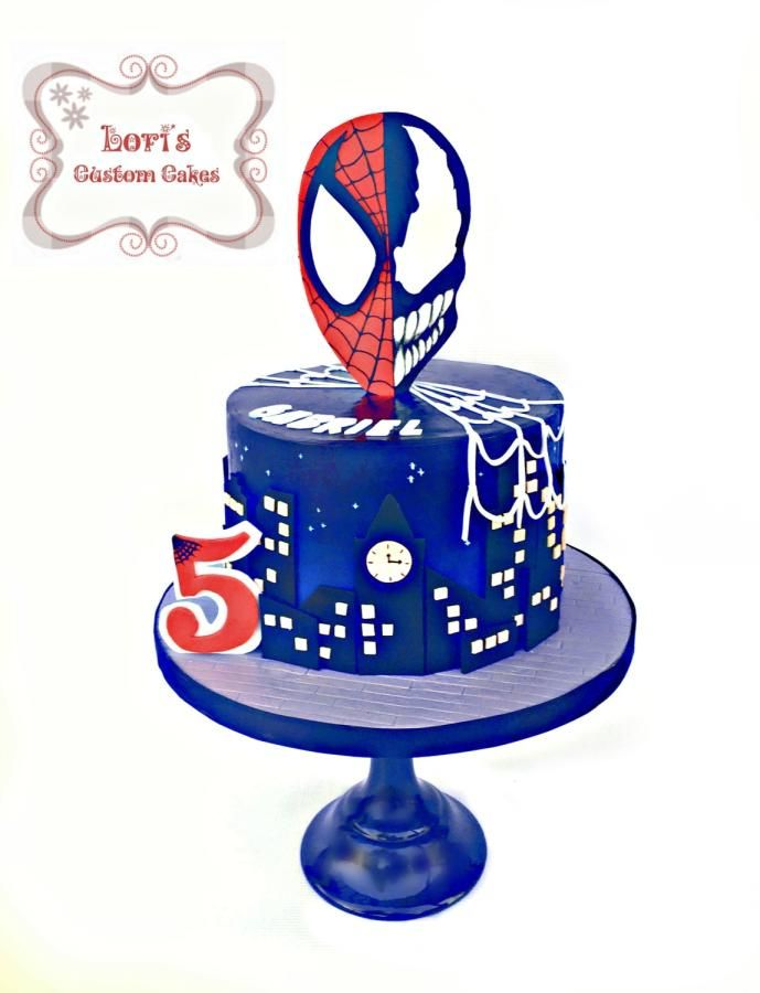 Spiderman vs. Venom  - Cake by Lori Mahoney (Lori's Custom Cakes)