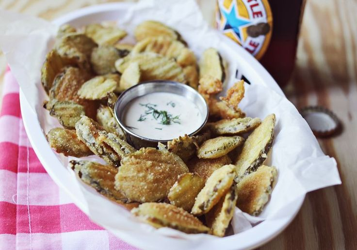 Fried pickles! (I don't even like pickles by themselves, but fried pretty-much-anything tastes like happiness)