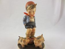 Hummel Goebel Figurine 66 Farm Boy Pig Full Bee TMK 2  Germany 5 1/2