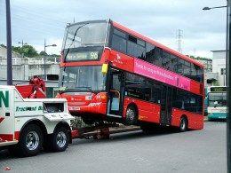 London Bus - highjacked - being towed