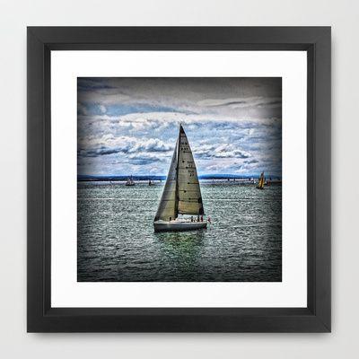 Yacht Framed Art Print by AngelEowyn - $34.00