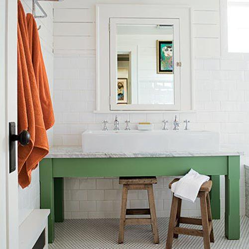A little pop of color: Bathroom Design, Kids Bathroom, Green, Bathroom Vanities, Subway Tile, Bathroom Ideas, Bathroom Sinks, Kid Bathrooms, Design Bathroom