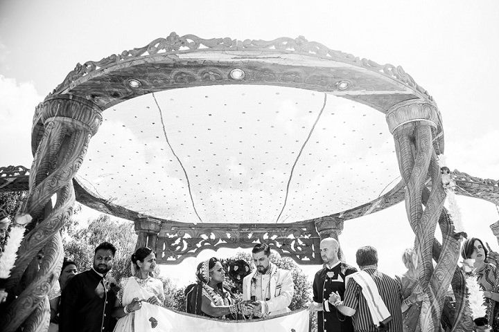 Pinky and Mike's 'Fifties Miami Kitsch Mixed with Bollywood Beach and Flamingos' Wedding.  By Matt Parry Photography