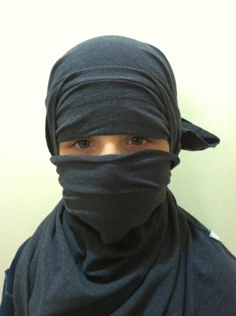 Make a Ninja mask using a T-shirt! Easy and imaginative! - we just did this on Rand and it works great!