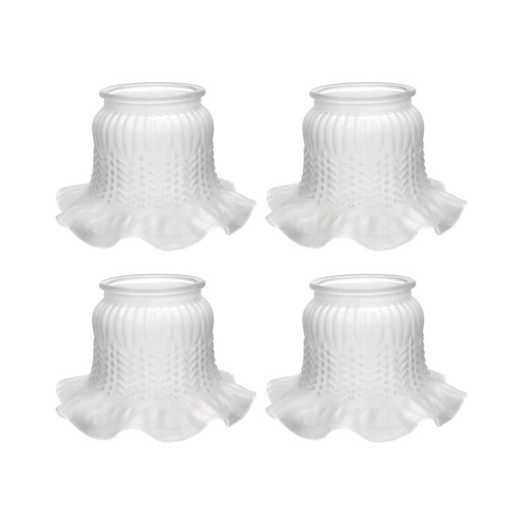 """# 23004-4 Frosted Rosebud Transitional Style Replacement Glass Shade, 3 7/8"""" Fitter Size, 5 1/4"""" high x 7 5/8"""" diameter, 4 Pack"""