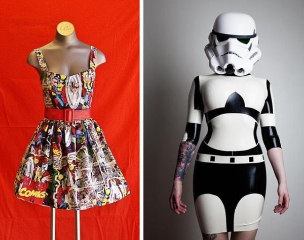 Nem todas as peças feitas à mão e exclusivas se parecem com fantasias, no entanto. O site Etsy traz, por exemplo, vários vestidos feitos artesanalmente e que podem ser usados tranquilamente pelas garotas nerds no dia a dia. Estampas de super-heróis, Star Wars e outras referências pop podem ser encontradas neste site de compras.    Leia mais em: http://www.tecmundo.com.br/moda/36929-a-moda-nerd-roupas-inspiradas-na-cultura-geek-volume-2.htm#ixzz2MWcD53CF