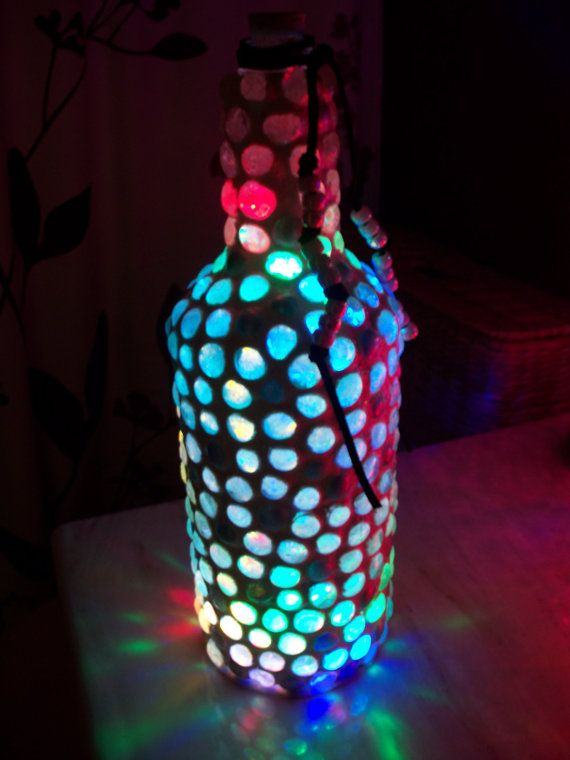 Beaded Bottle Light With Multi Colored Leds Glass Beads