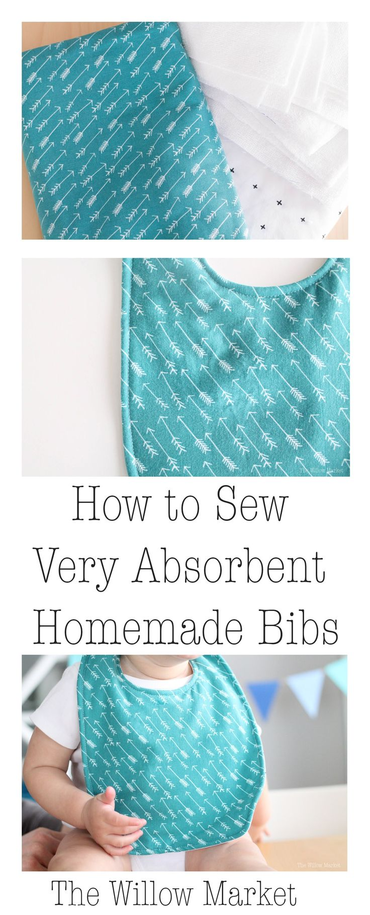 How to sew very absorbent homemade baby bibs. She uses jersey knit instead of the normal cotton or fleece.