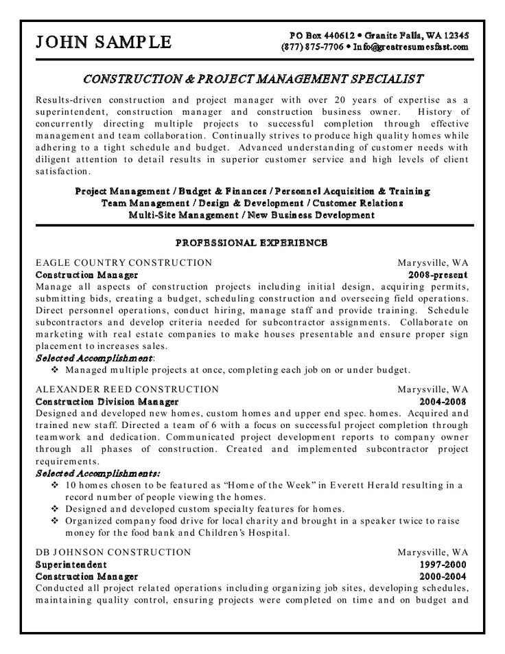 Construction And Project Management Specialist Resume Example · Job  DescriptionResume ...