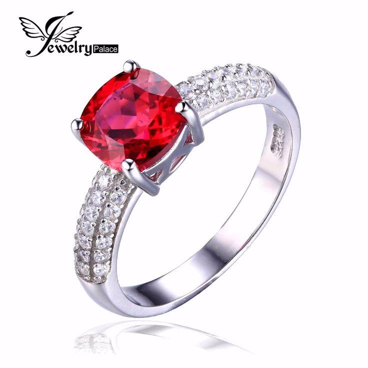Jewelrypalace kussen 2.6ct gemaakt red ruby solitaire engagement ring 925 sterling zilveren ring mode ontwerp fijne sieraden