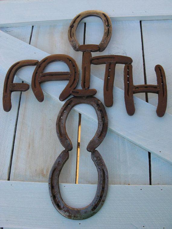 """""""faith"""" - recycled horseshoe sign"""