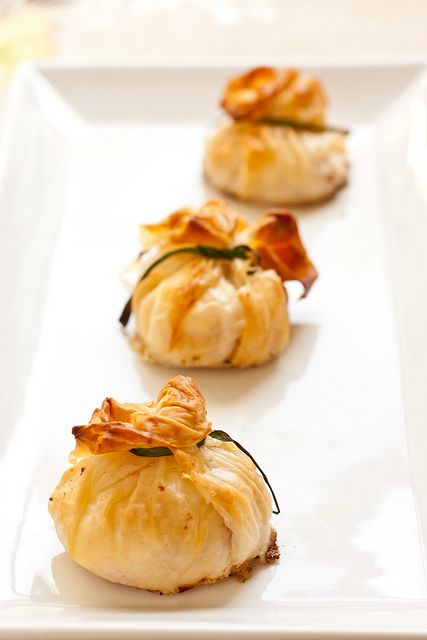 Goat Cheese and Pancetta Filo (Beggar's) Purses. Not sure why it's spelled Phyllo on the website, maybe that's an American spelling, I don't know.