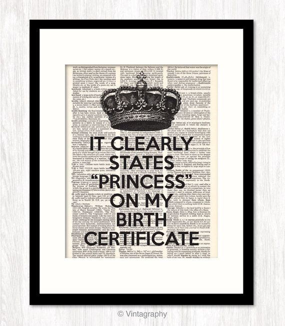 PRINCESS CROWN Wall Decor, Princess Birth Certificate Quote, Funny Quote, dictionary art print, Typography, Dorm Decor, Birthday Gift Idea
