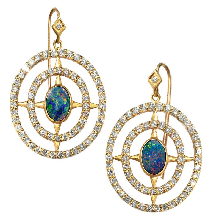 Lauren Harper Boulder Opal Diamond Matte Gold Axis Earrings | From a unique collection of vintage dangle earrings at https://www.1stdibs.com/jewelry/earrings/dangle-earrings/