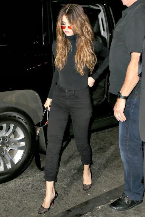 Selena Gomez wearing Soebedar Shania Pumps in Black Mesh, Karl Lagerfeld K/Pin Closure Tote in Black, Wolford Colorado Bodysuit and Vintage Frames Caviar Midas Series 8863 C21 Sunglasses