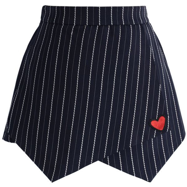 Chicwish Lovely Heart Stripe Flap Skorts in Navy found on Polyvore featuring skirts, mini skirts, bottoms, blue, navy blue skirt, wrap mini skirt, navy striped skirt, wrap skirt and navy skort