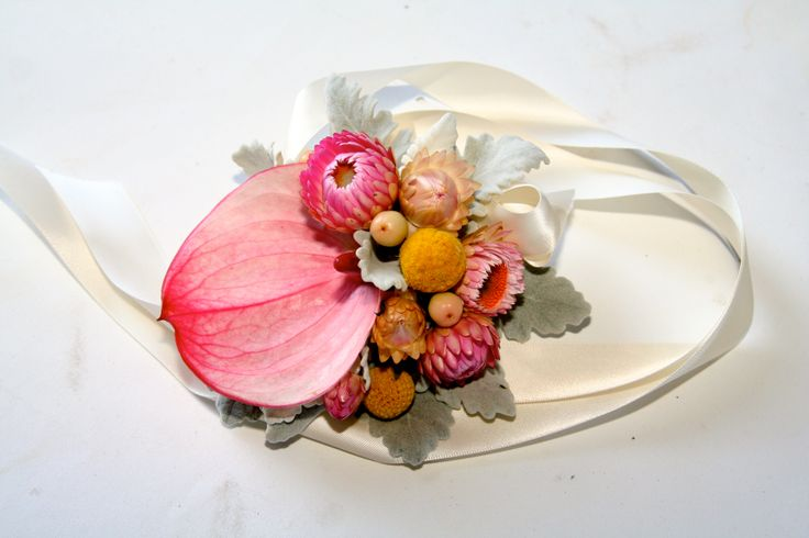Wrist corsage with Anthurium