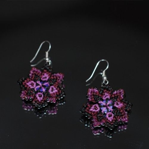 Handmade macrame Earrings, Flower shaped, Waxed black,crimson,pink thread http://reignofknots.com/index.php?route=product/category&path=24