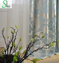 Blue Danube High Precision Jacquard Curtain Floral Curtains Cortinas For Living Room And Tulle Modern Window Bedroom Cortina(China (Mainland))