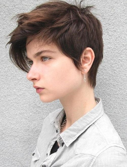 tomboy/androgynous pixie cut with long fringe